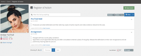 Register of Action Screen