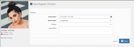 Add a new event to the register of action