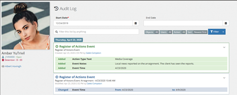 Register of action event in the audit log.
