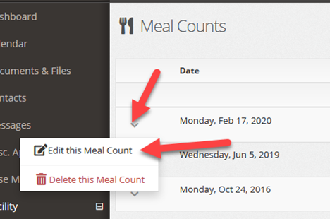 Edit the meal count from the down caret