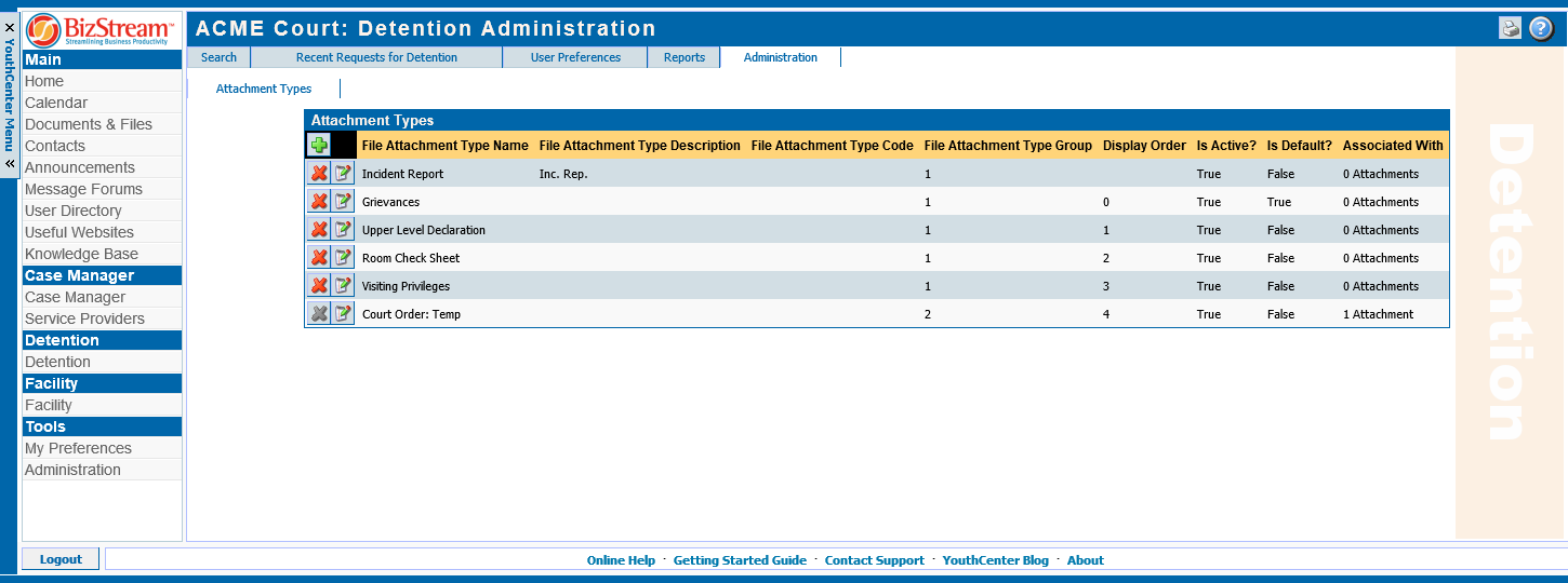 YouthCenter attachment type management screen
