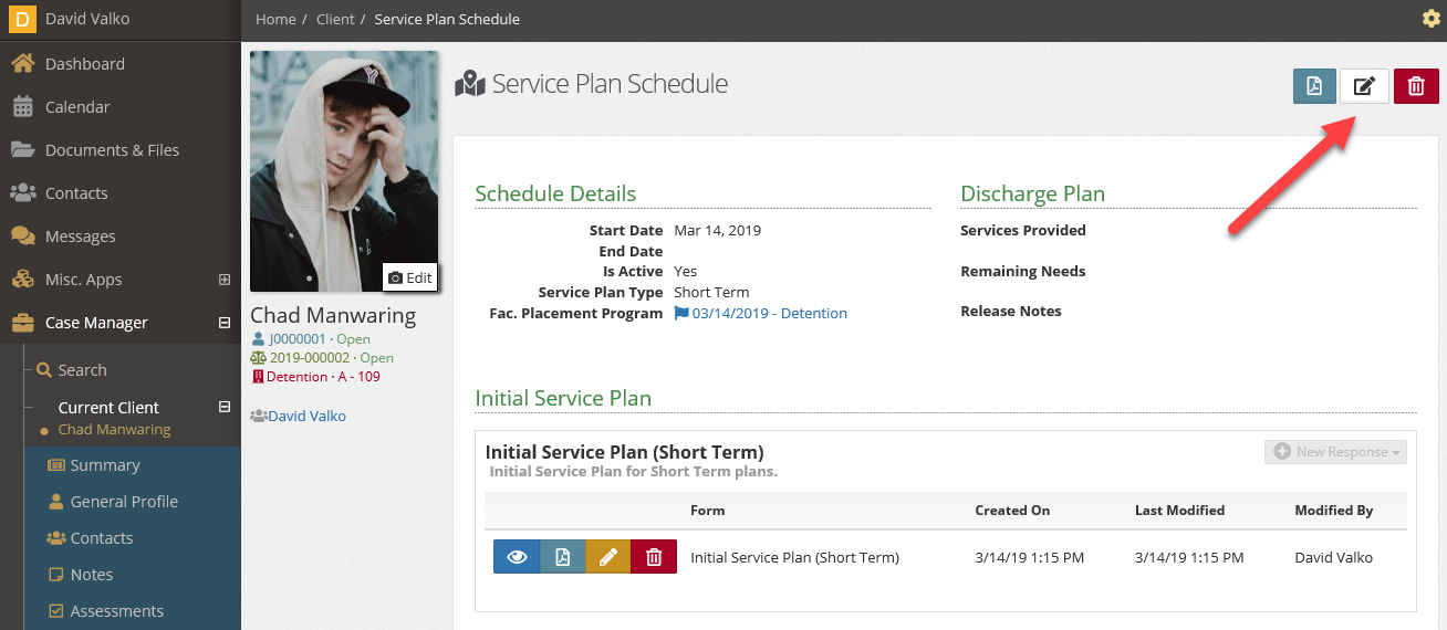 Edit the service plan to close
