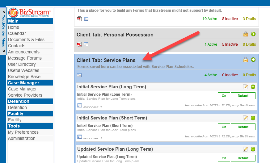 Client tab with Service Plan custom forms.