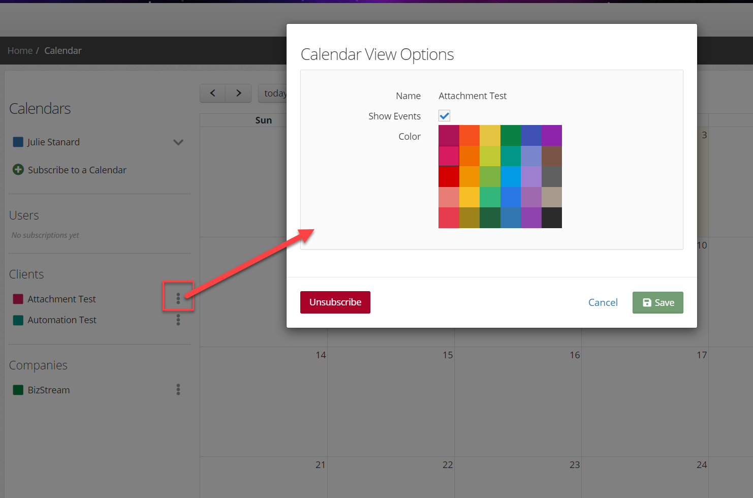 Assigning a subscribed calendar a display color