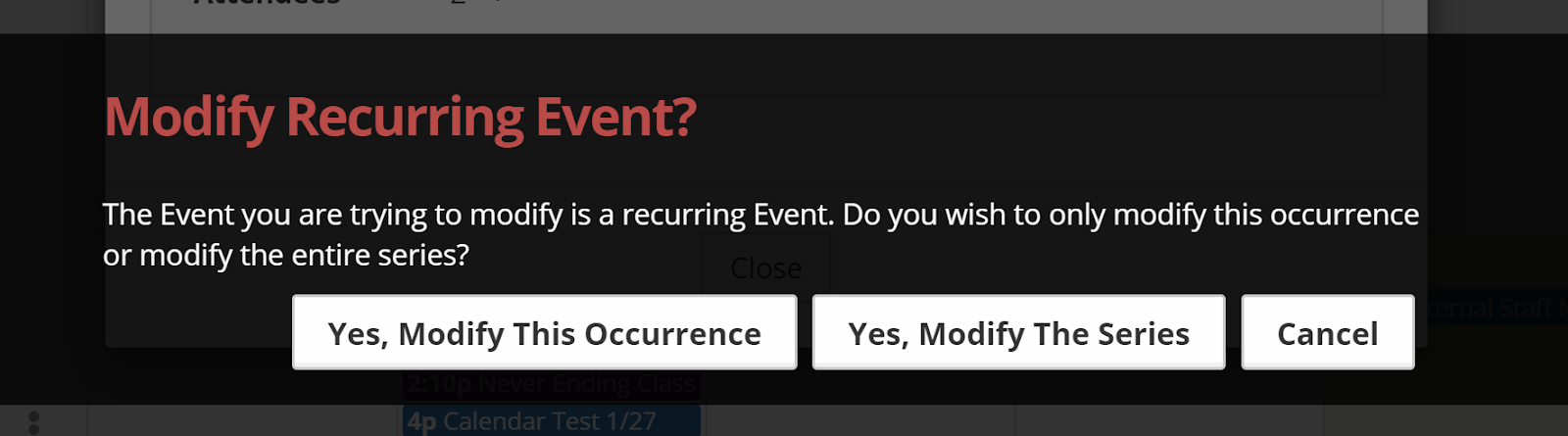 Modifying a recurring event dialog warning