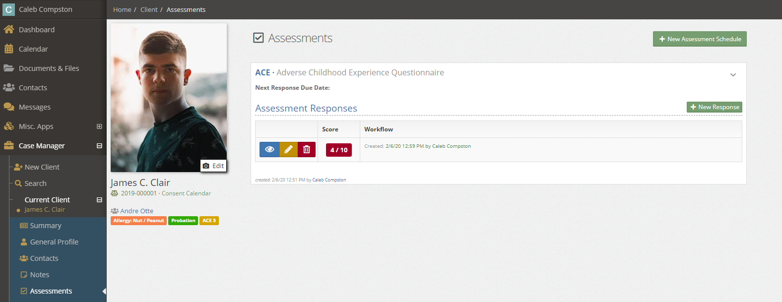 Assessment list view with completed ACEs and score