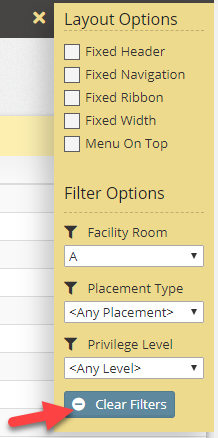 Global filters with option to clear filters